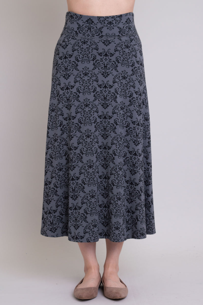 Women's long comfy and stretchy printed fabric skirt with elastic waistband and made with natural bamboo fibers.