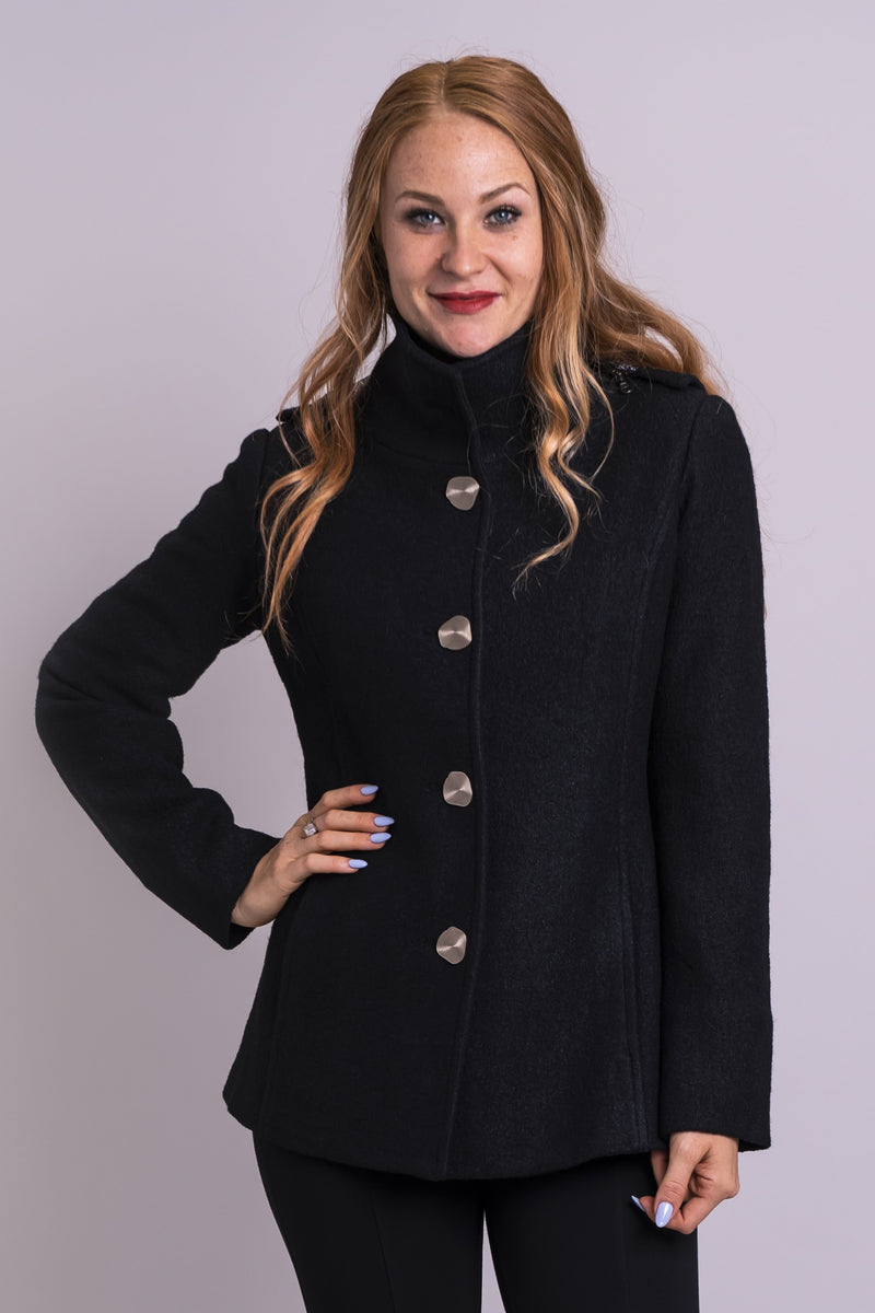 Women's black warm winter short coat with tall collar, pockets, and deep hood.