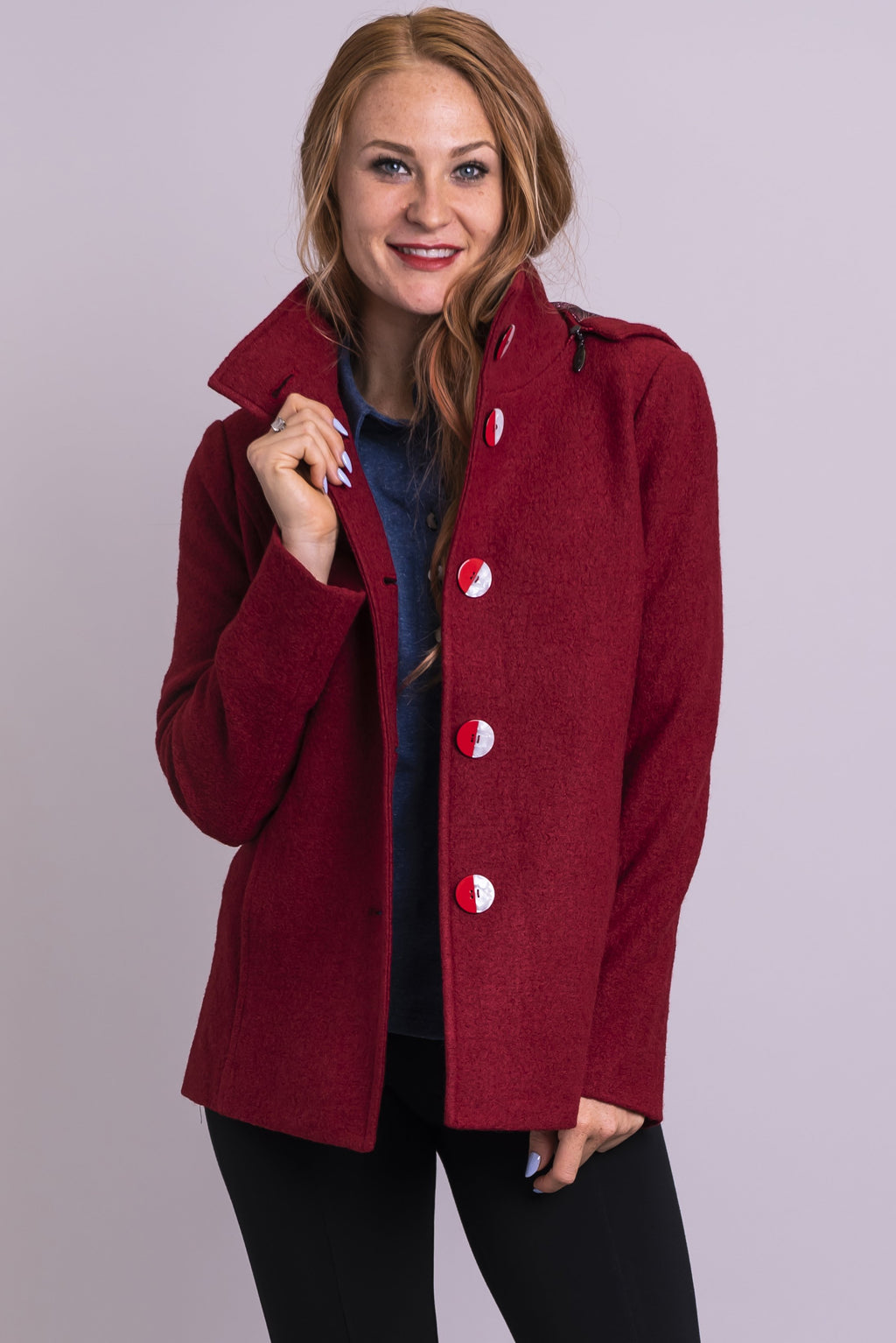 Gina Coat, Rouge, Wool