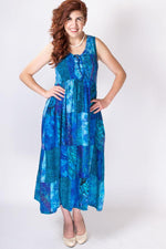 Women's cobalt blue batik art long sleeveless dress with elastic bodice.