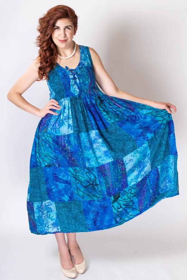 Giselle Maxi Dress, Caribean Queen, Batik Art - Blue Sky Clothing Co