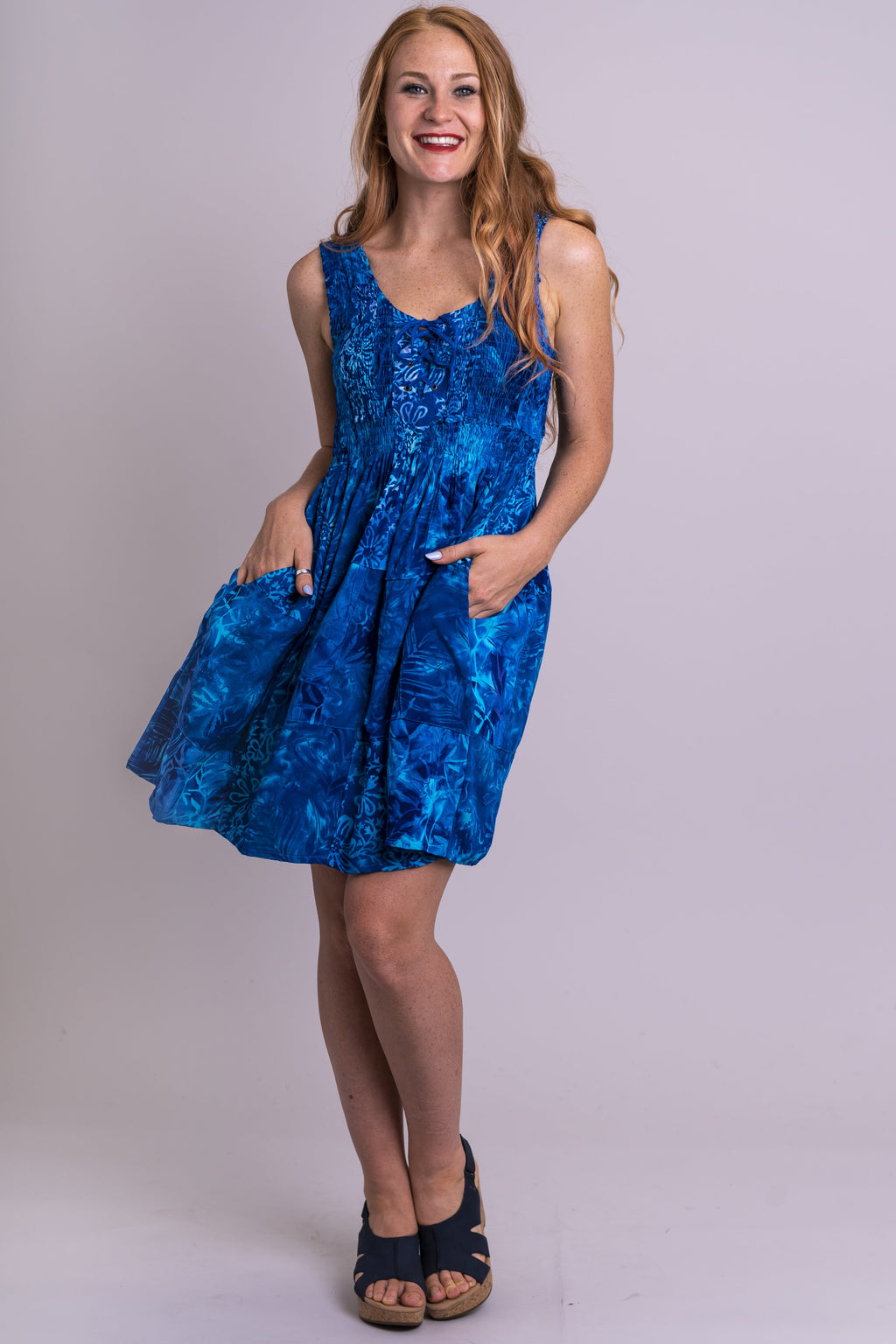 Giselle Dress, Blue Cheer, Batik Art - Blue Sky Clothing Co