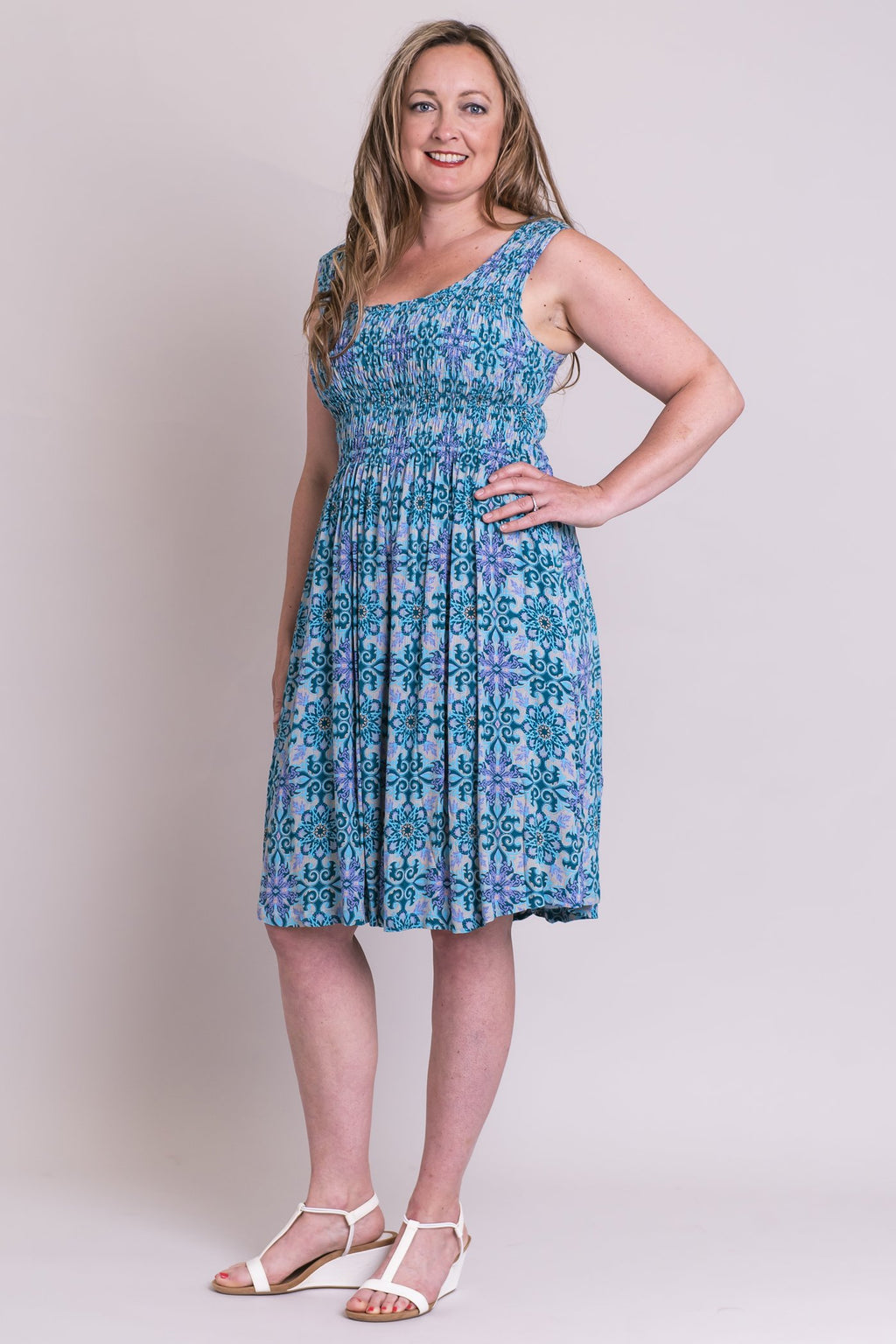 Giselle Midi Dress, Teal Mosaic, Batik Art - Blue Sky Clothing Co