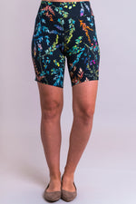 Women's valley multicolor print biker shorts for yoga, workout, or casual wear. Made with comfortable, stretchy, and sustainable natural fibers.