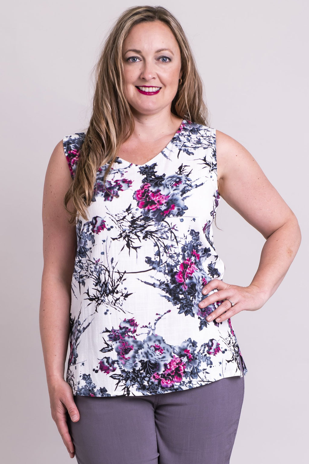 Hannah Tank, New Expression, Linen Bamboo - Blue Sky Clothing Co