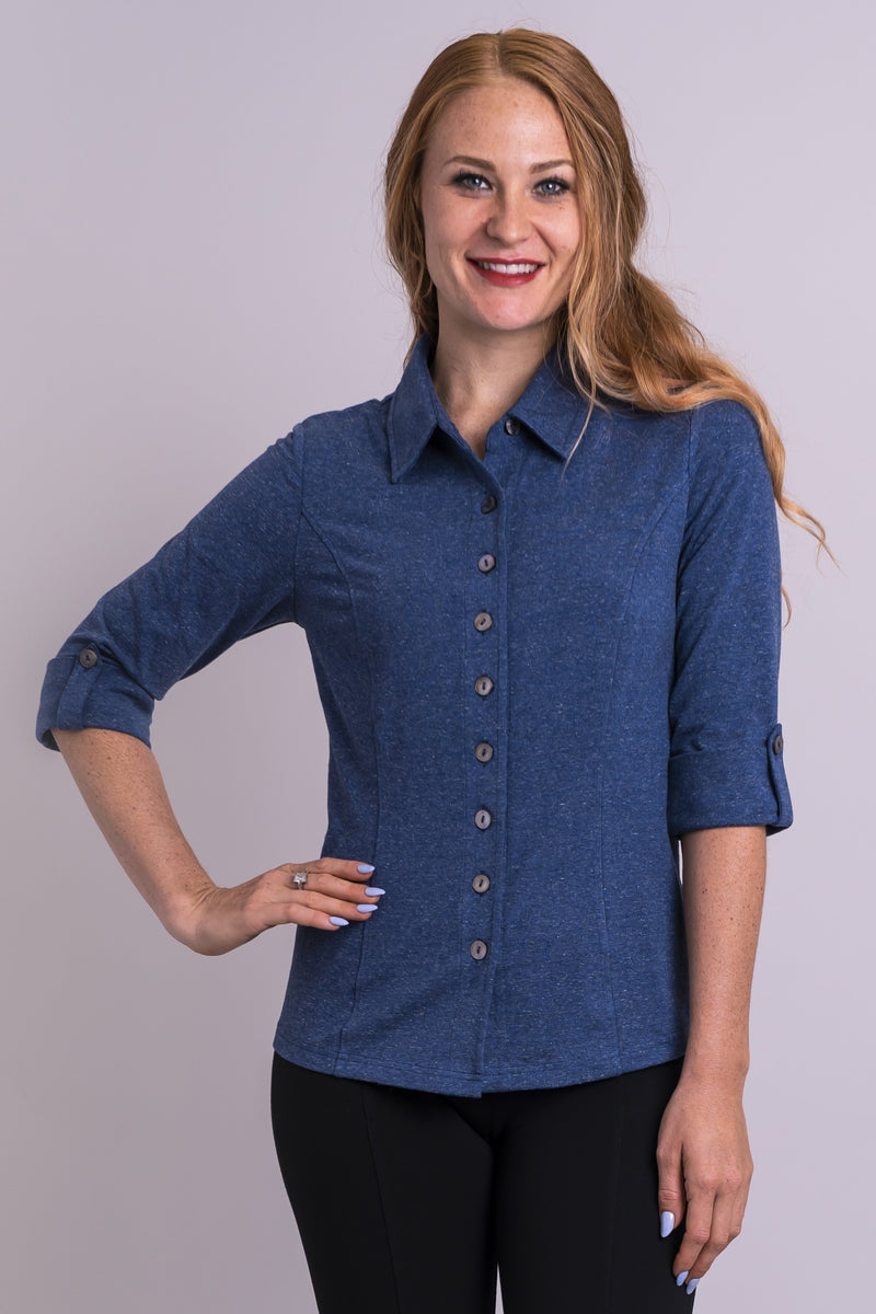 Women's denim blue 3/4 sleeve button-up dress shirt with small collar and made with natural bamboo fibers.
