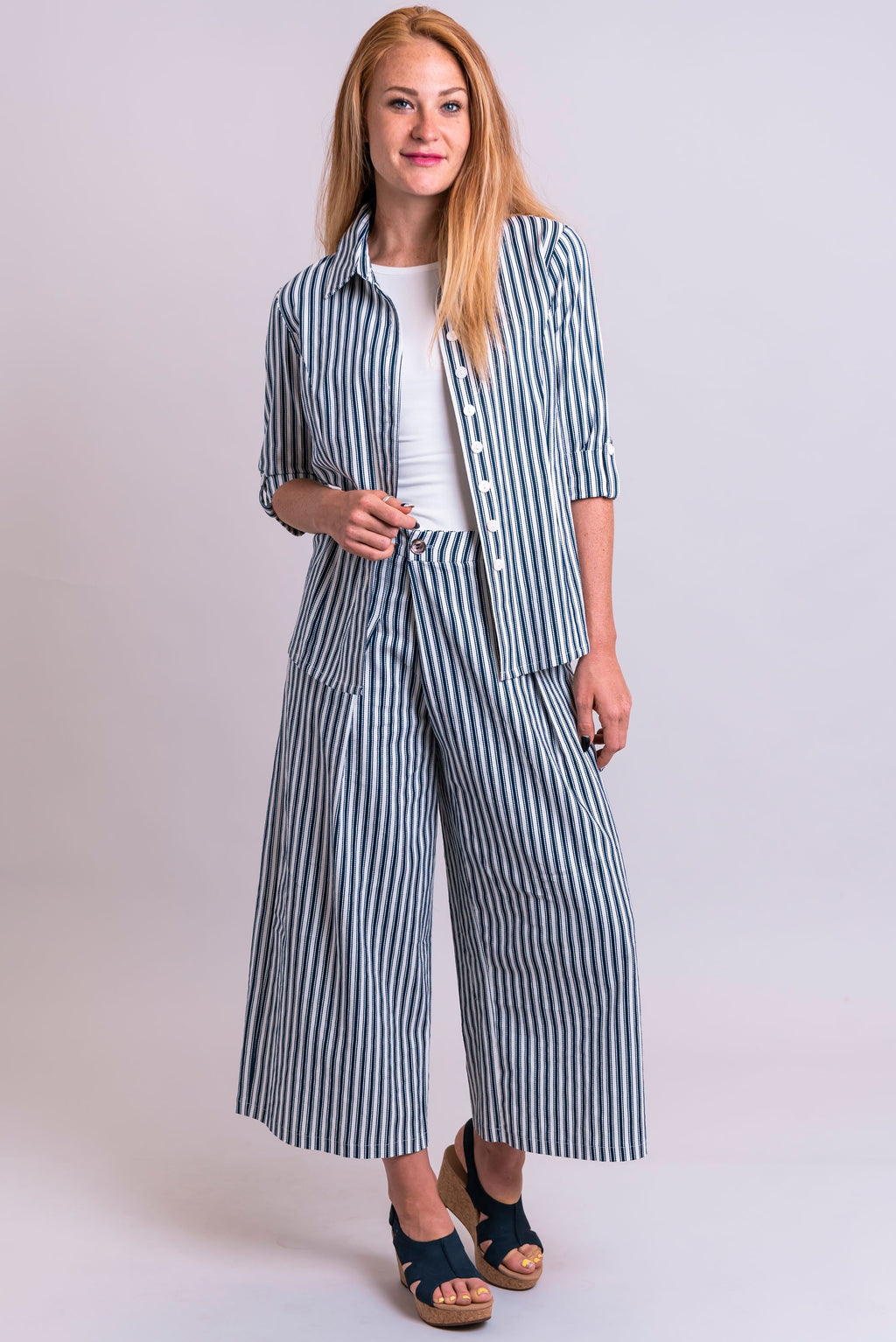 Marley Jacket, Indigo Stripe, Linen Viscose - Blue Sky Clothing Co
