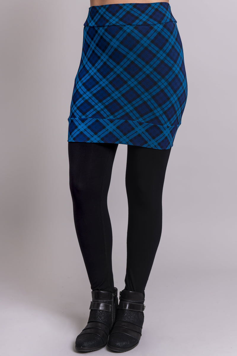 Heather Skirt, Teal Plaid, Bamboo - Blue Sky Clothing Co