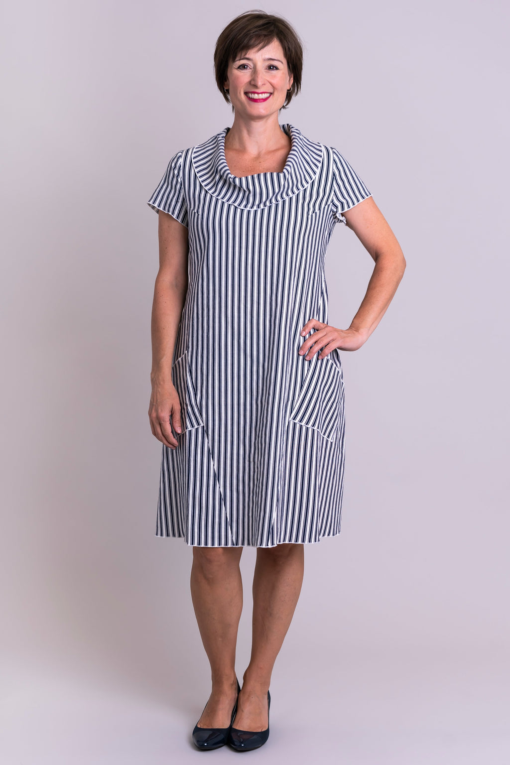 Hester Dress, Indigo Stripe, Linen Viscose - Blue Sky Clothing Co