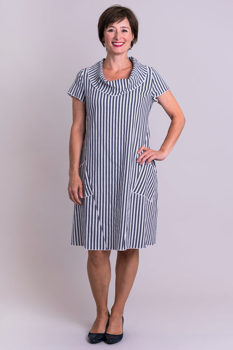 Women's black and white stripe short sleeve cowl neck dress with pockets, made with natural fibers.
