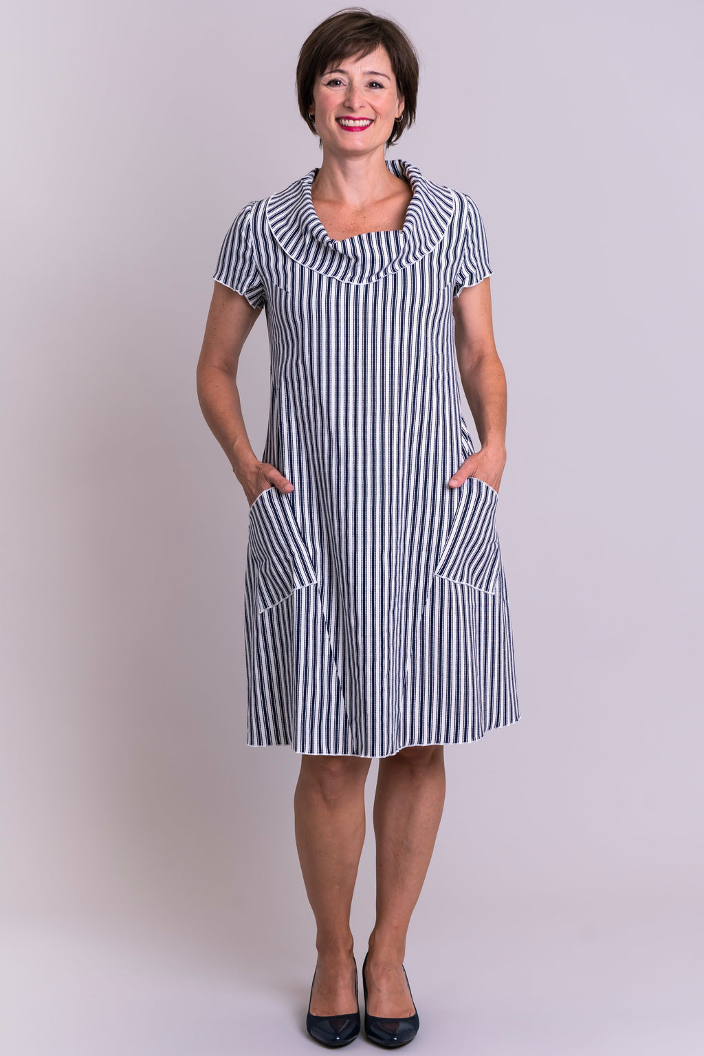 Hester Dress, Indigo Stripe, Linen Viscose