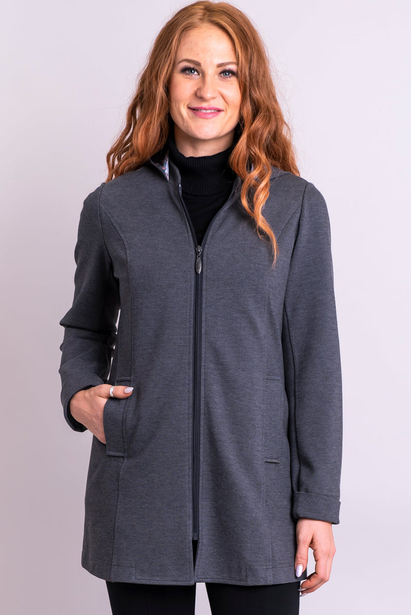 Women's grey winter or spring light jacket coat with zipper, hood, and pockets.
