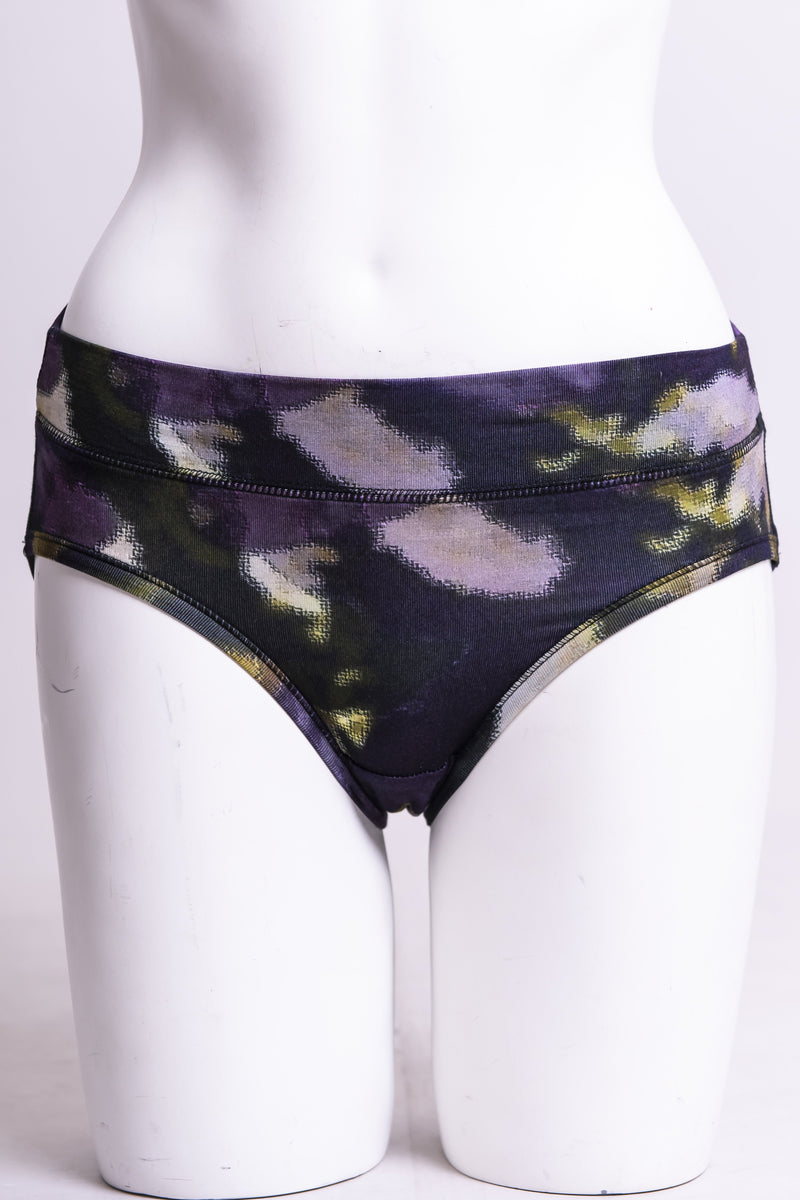Women's cute and comfy clematis print hipster underwear made with natural fibers.