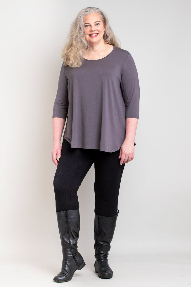 Jazz 3/4 Slv Top, Charcoal, Bamboo