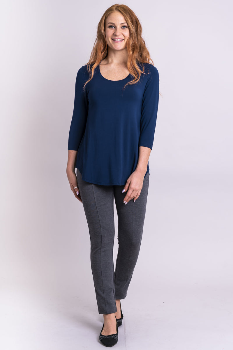 Jazz 3/4 Slv Top, Indigo, Bamboo - Blue Sky Clothing Co