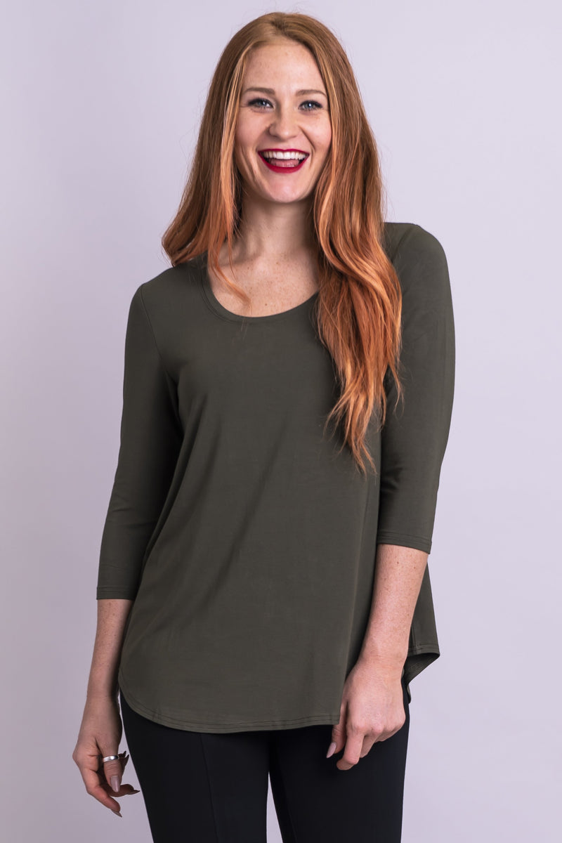 Women's casual wear khaki green crewneck 3/4 sleeve casual shirt with flowy cut.