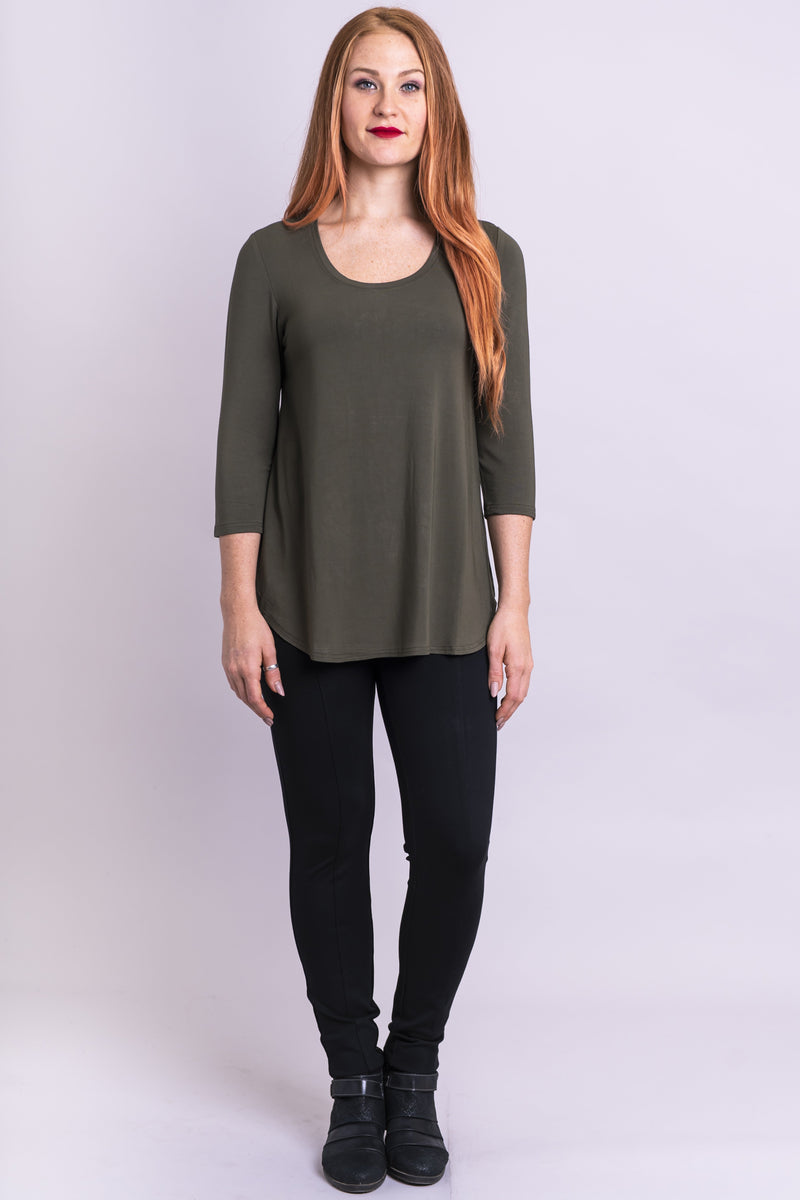 Jazz 3/4 Slv Top, Khaki, Bamboo - Blue Sky Clothing Co