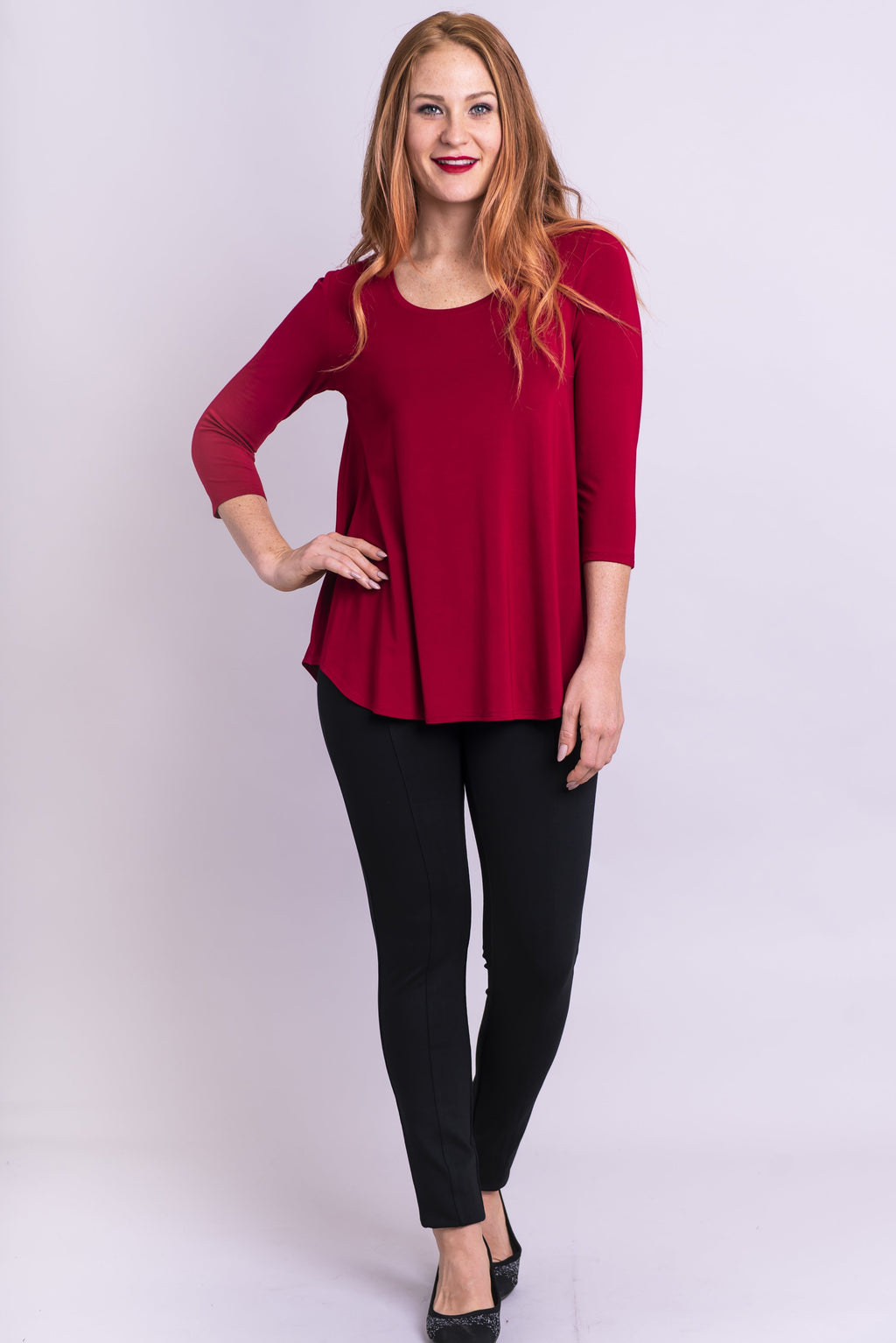 Jazz 3/4 Slv Top, Lipstick, Bamboo - Blue Sky Clothing Co
