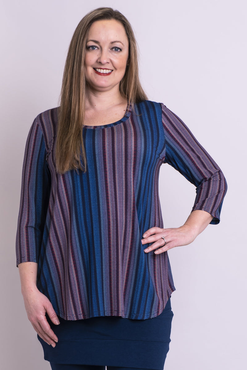 Jazz 3/4 Top, Multi Ribbon, Bamboo - Blue Sky Clothing Co