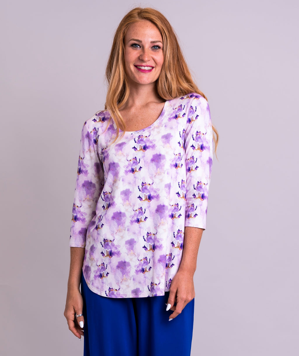 Jazz 3/4 Top, Orchid Watercolours, Bamboo - Blue Sky Clothing Co