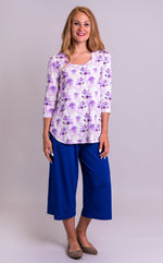 Women's top, long sleeve, 3/4 sleeve, casual-wear, easy fit, bamboo clothing, plus-size, long sleeve shirt, clothing, comfortable, purple, summer prints, watercolor print, spring style, white, summer print