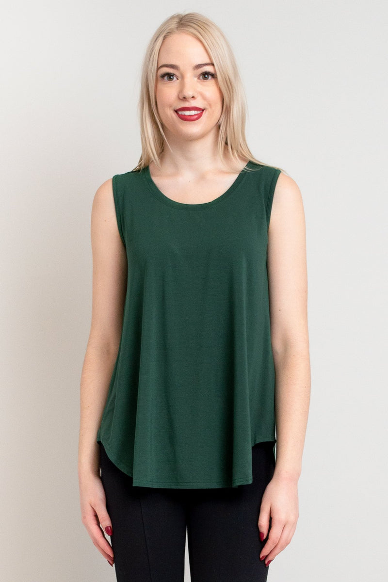 Women's casual forest green flowy tank top with wide shoulder strap and U-neckline, made with natural bamboo fibers.