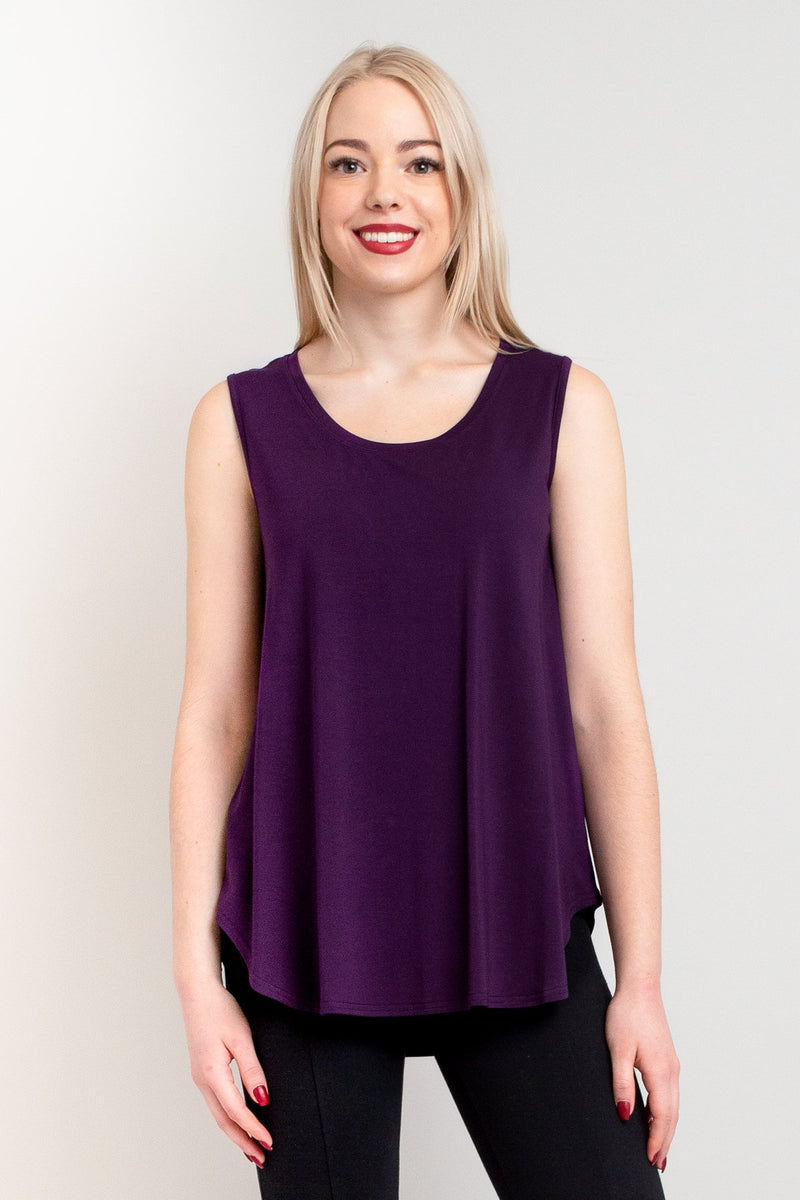 Women's casual purple flowy tank top with wide shoulder strap and U-neckline, made with natural bamboo fibers.