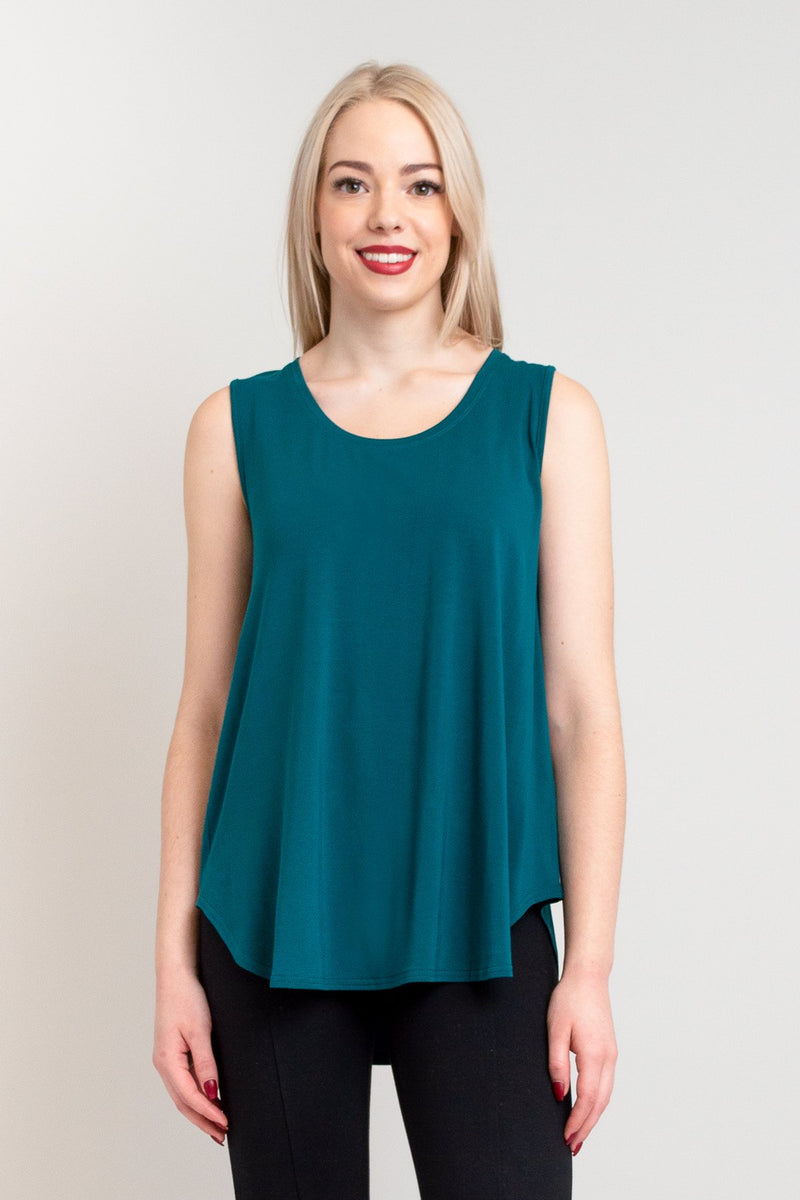 Women's casual teal blue flowy tank top with wide shoulder strap and U-neckline, made with natural bamboo fibers.