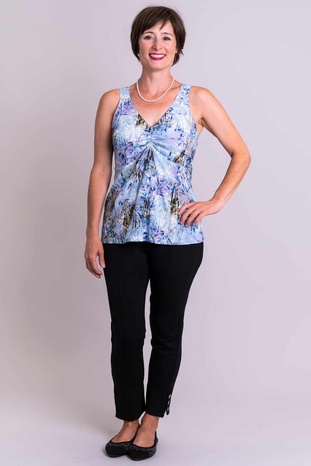 Jill Top, Blue Zest, Linen Bamboo - Blue Sky Clothing Co