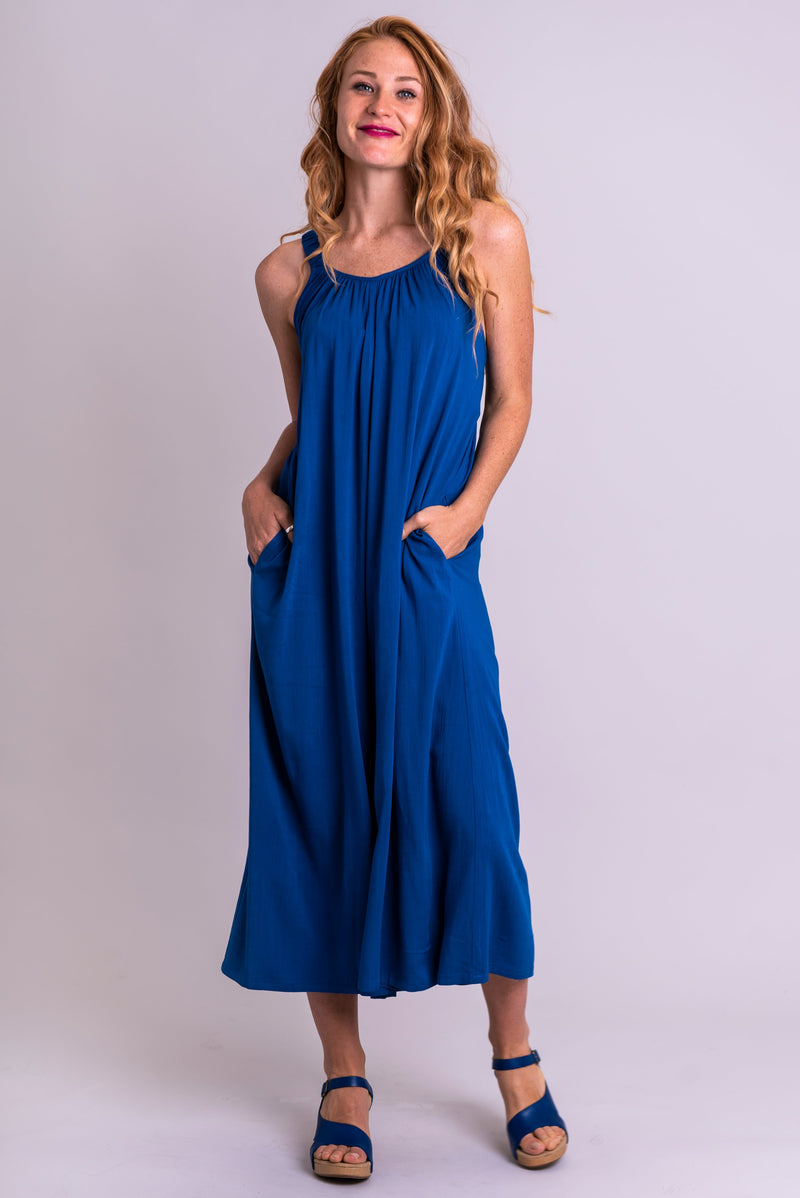 Joanna Jumpsuit, Sapphire, Linen Bamboo - Blue Sky Clothing Co