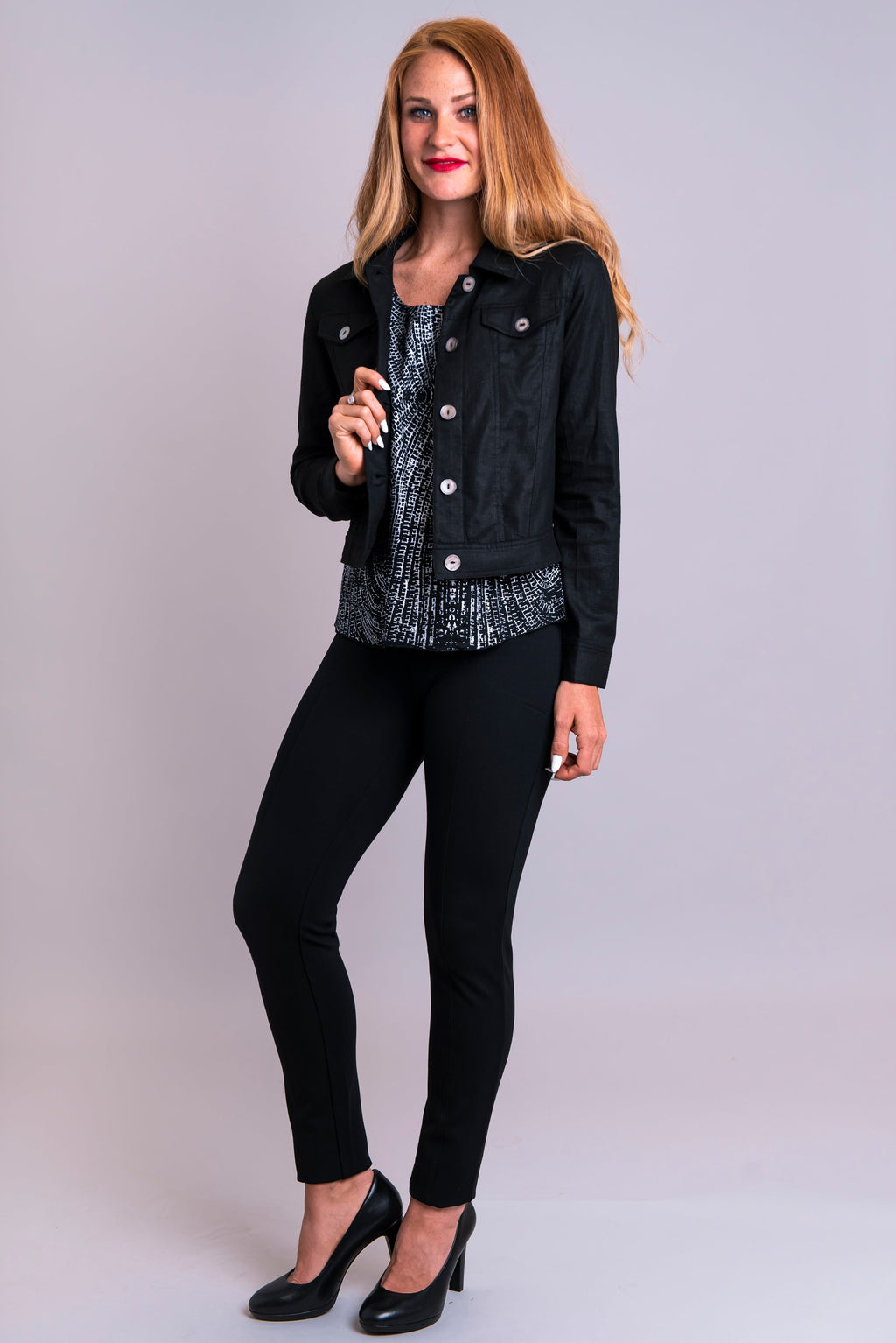 Jones Jacket, Black, Linen Viscose - Blue Sky Clothing Co