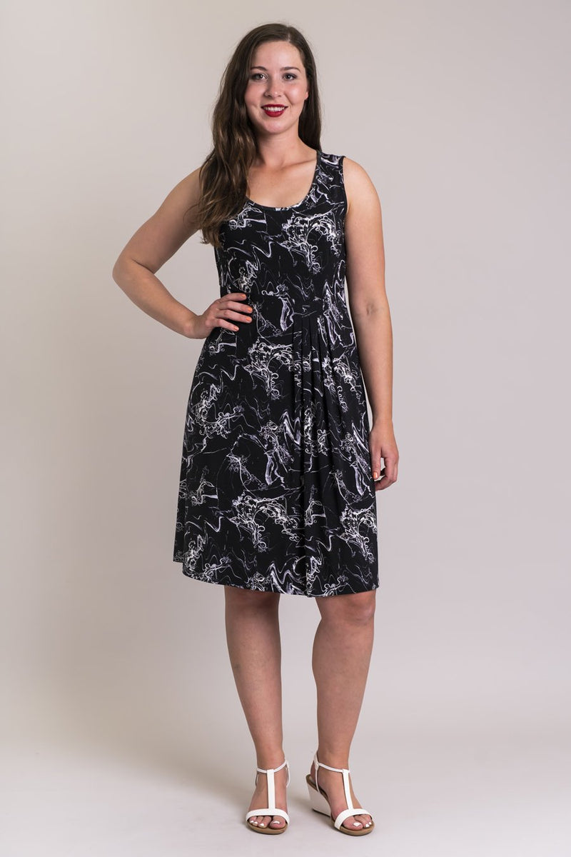 Women's abstract black print sleeveless short summer dress with round neckline, made with natural bamboo fibers.