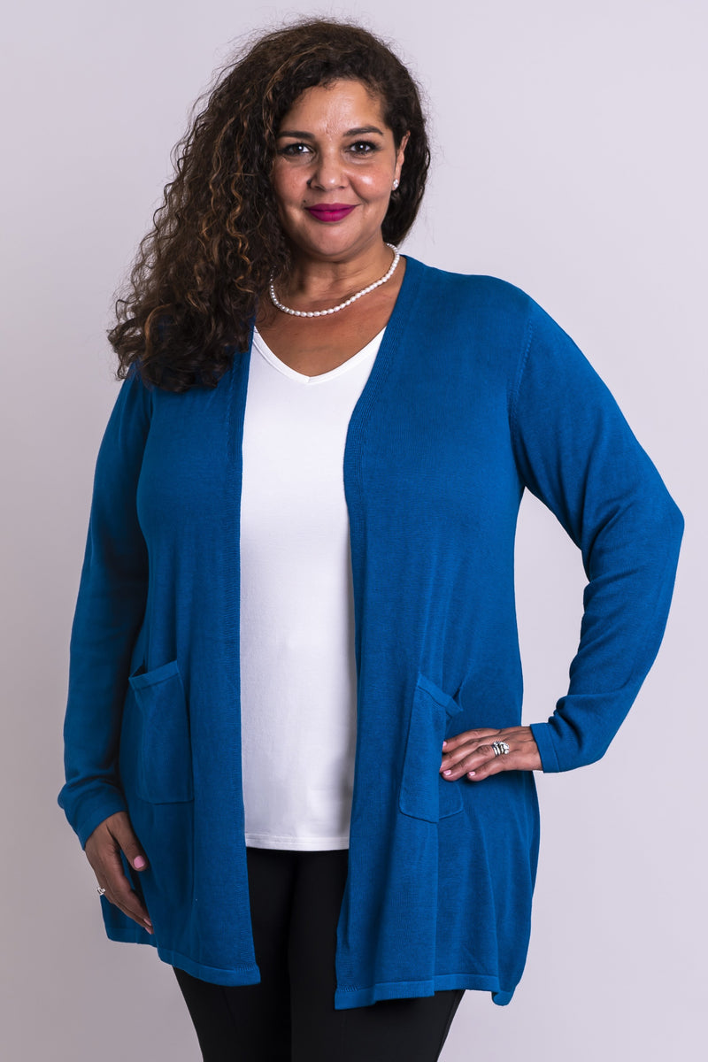 Women's long, blue long-sleeve pocket cardigan sweater, made from natural bamboo cotton fibers.