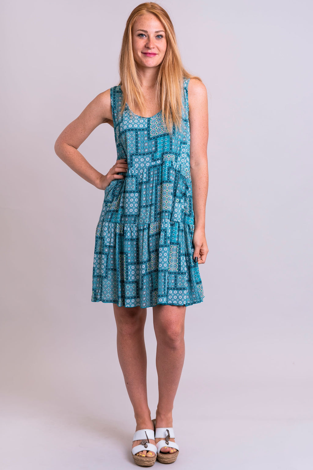 Kaya Dress, Teal Patches, Viscose