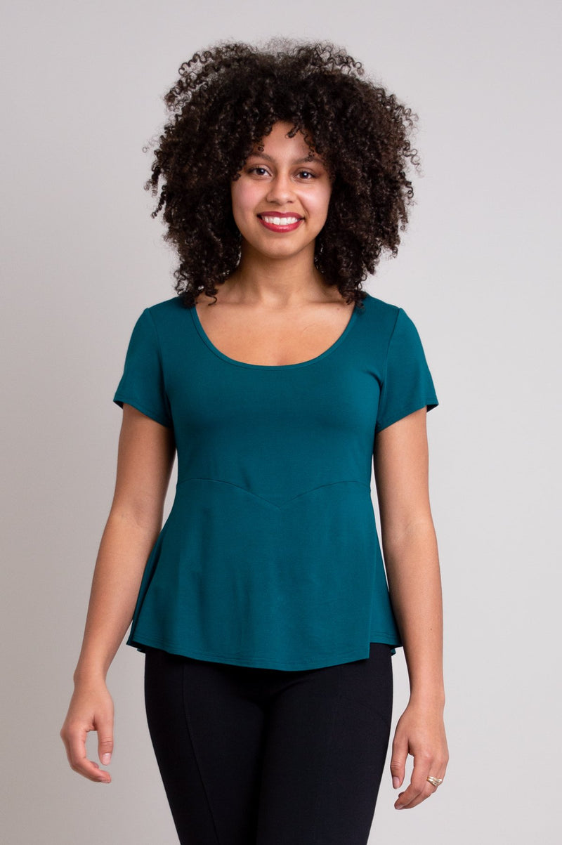 Women's teal green dressy t-shirt top for evening-wear, with round neckline, short sleeves, and fitted bodice.
