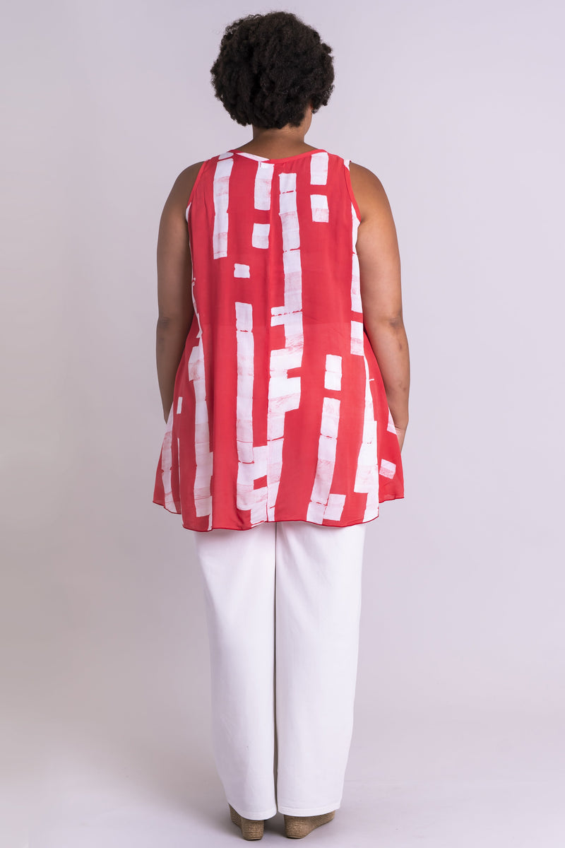Kona Tank, Coral Block, Batik Art - Blue Sky Clothing Co
