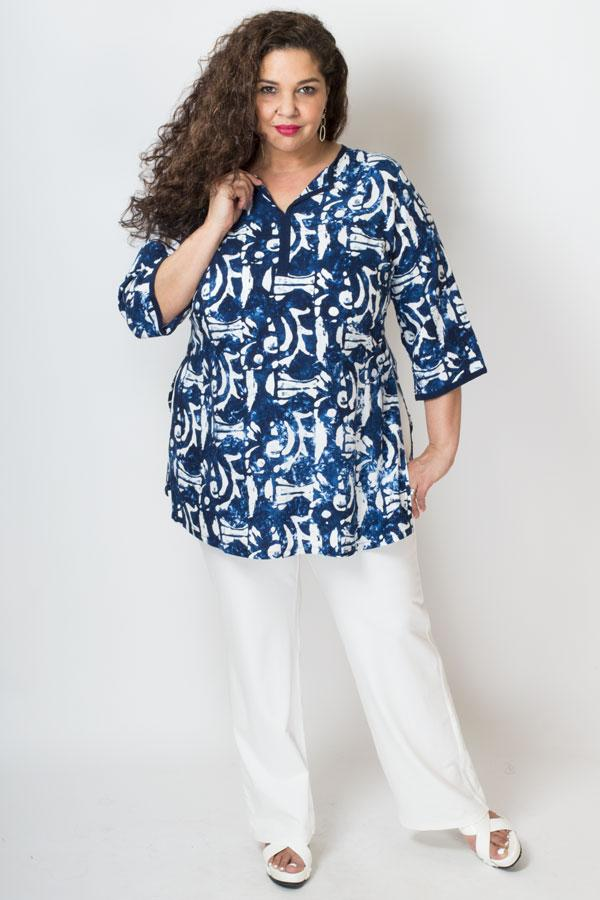 Kurta Top, Navy/Wht Carving