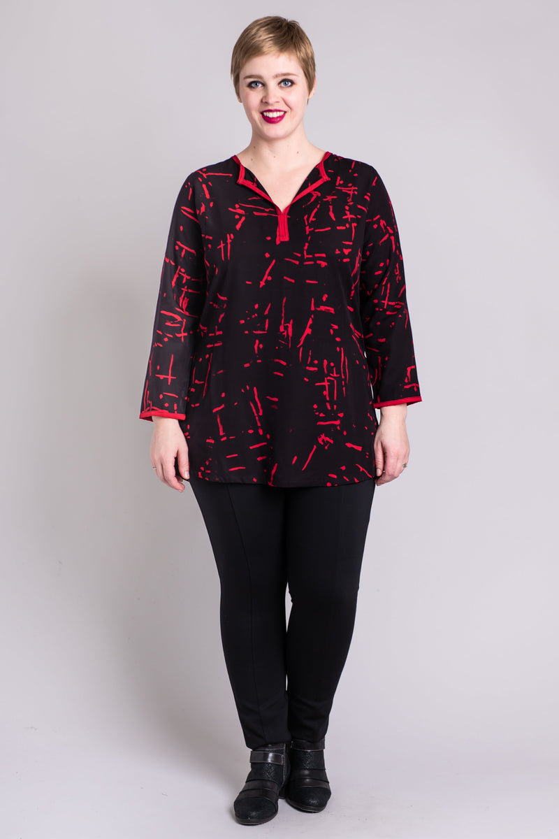 Kurta Top, Red Cubes - Blue Sky Clothing Co
