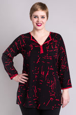 Women's black and red print 3/4 sleeve V-neck loose fitting shirt tunic.