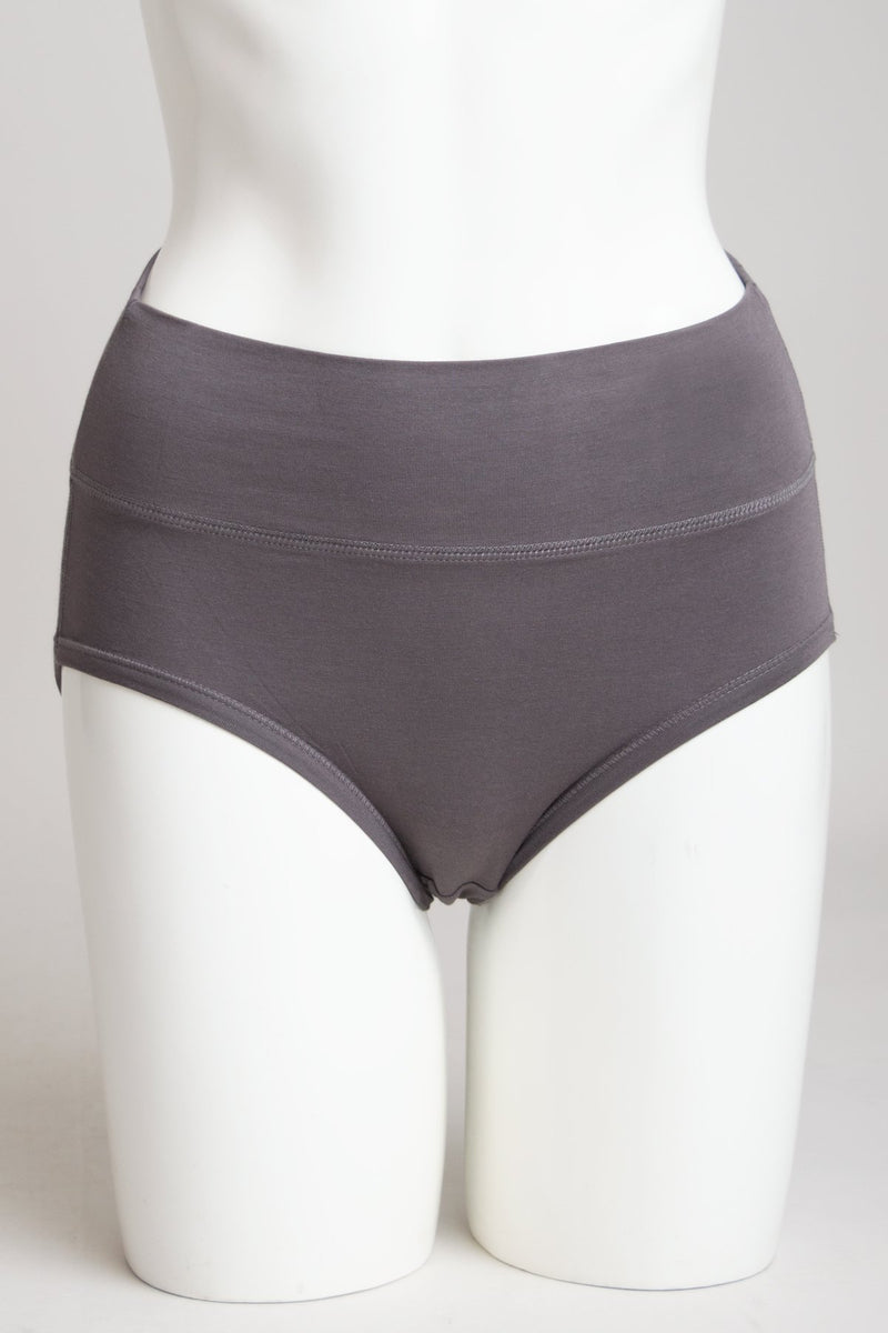 Women's comfortable charcoal grey high waisted underwear control briefs made with natural bamboo fibers.