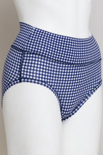 Women's comfortable blue plaid print high waisted underwear control briefs made with natural bamboo fibers.