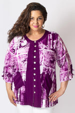 Laura Top, Magenta/White Framework - Blue Sky Clothing Co