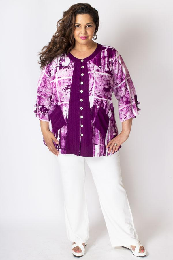 Laura Top, Magenta/White Framework, Batik Art