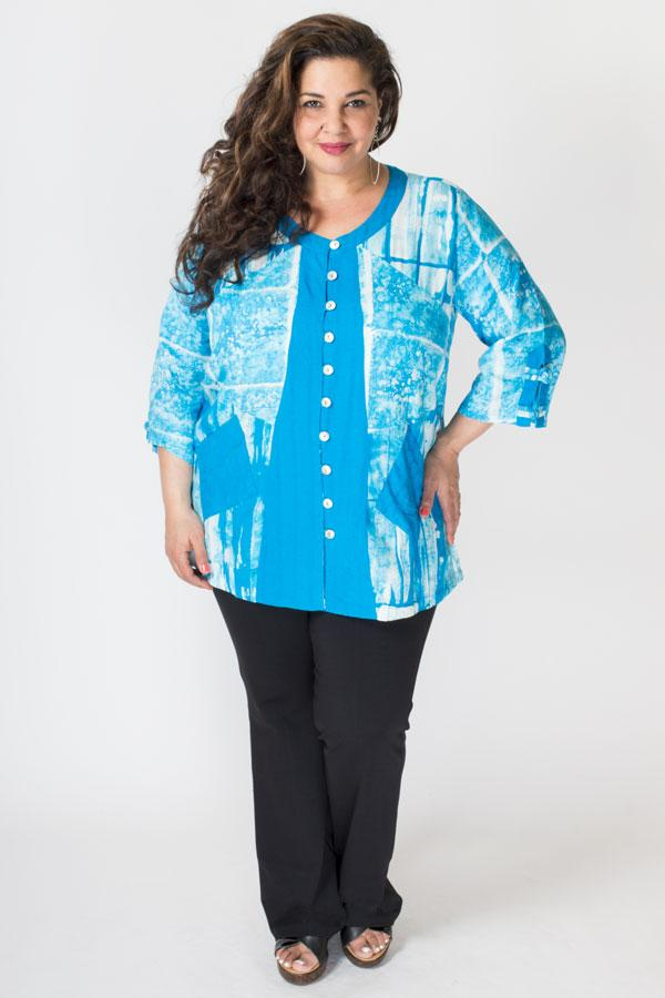 Laura Top, Turq/White Framework, Batik Art - Blue Sky Clothing Co