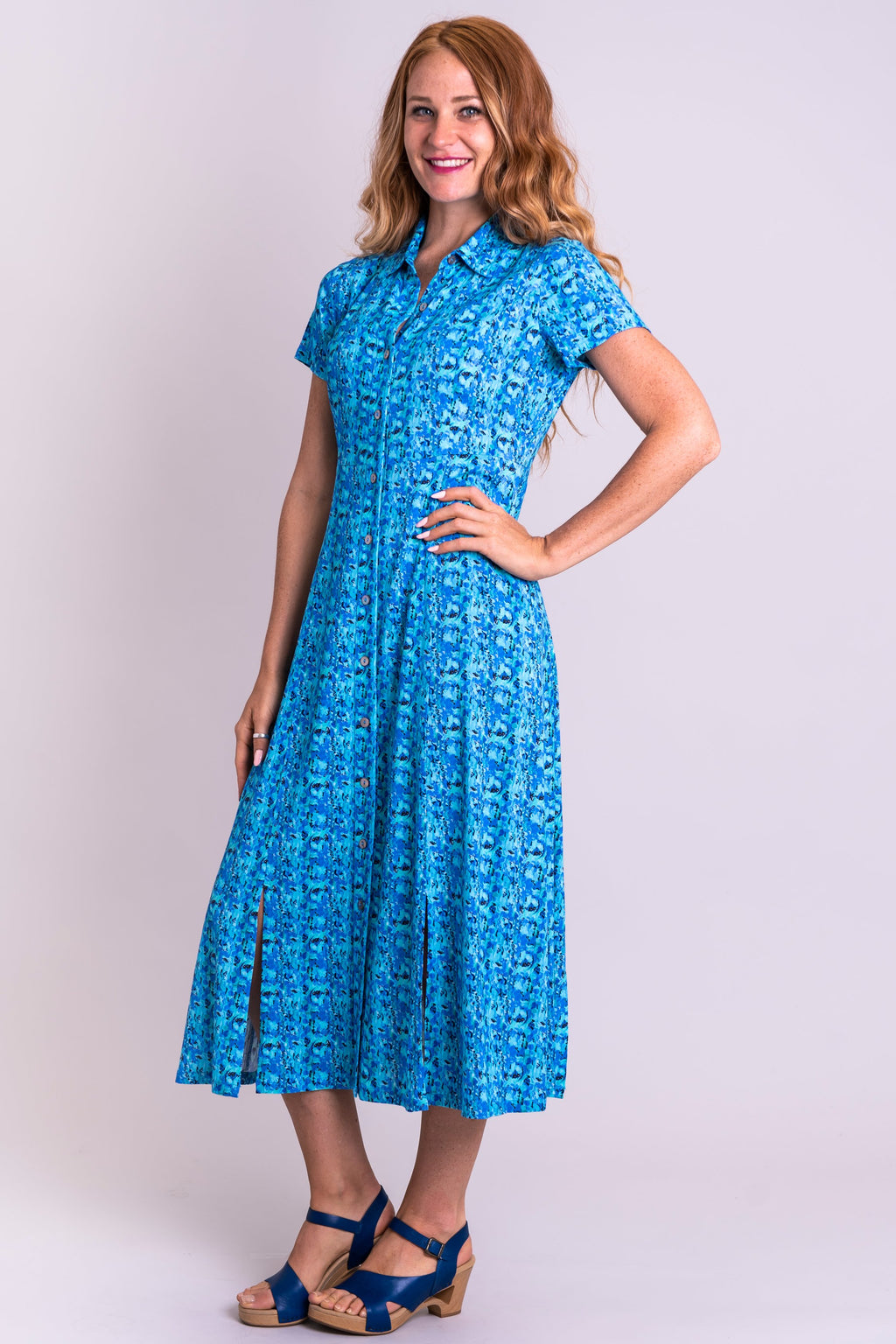 Lennox Dress, Super Pontiac, Linen Bamboo - Blue Sky Clothing Co