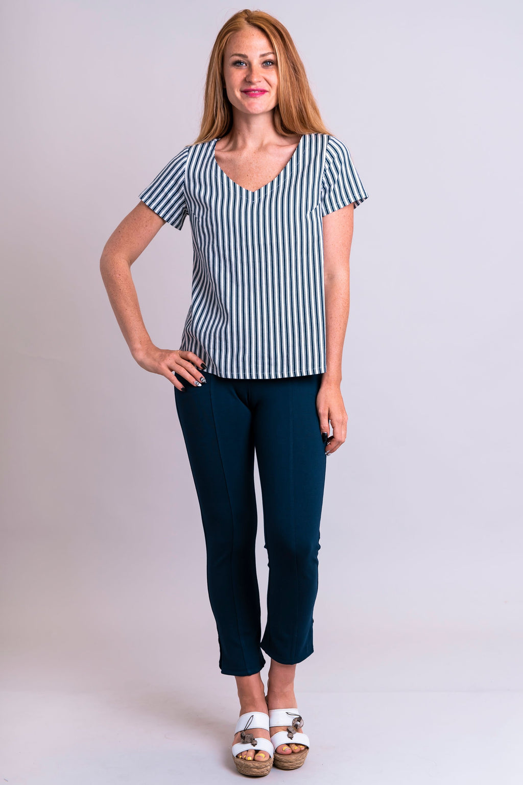 Lyra Top, Indigo Stripe, Linen Viscose - Blue Sky Clothing Co
