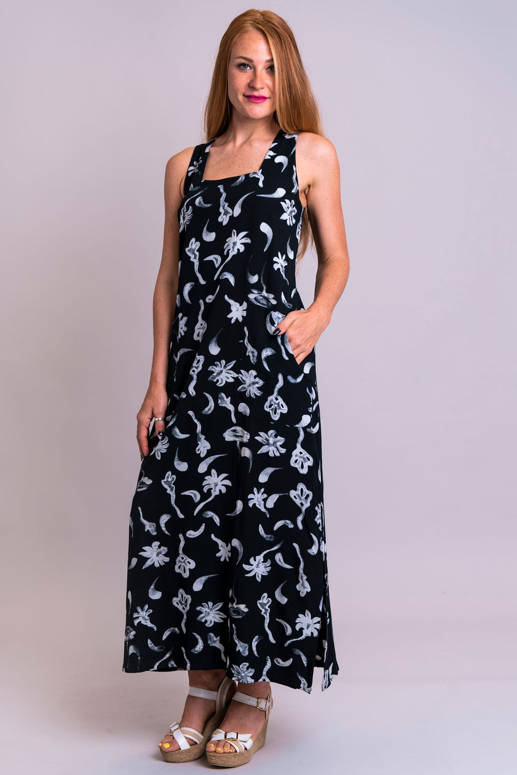 Maddie Dress, Flower Garden, Batik Art - Blue Sky Clothing Co