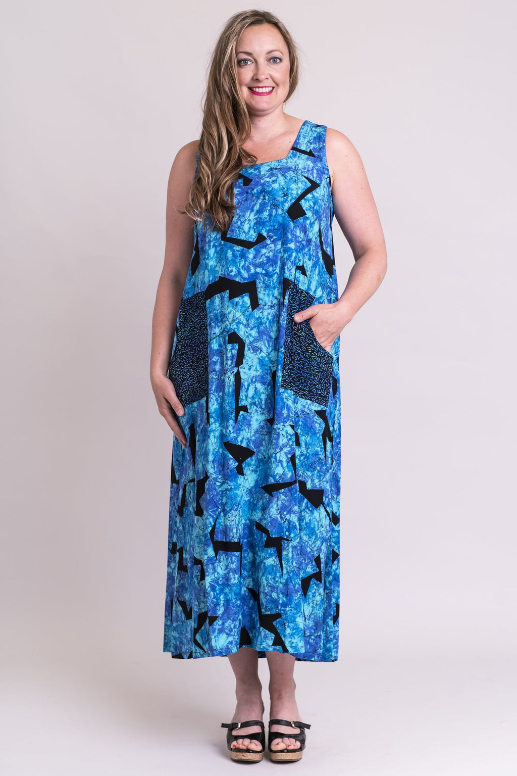 Maddie Dress, Mosaic, Batik Art - Blue Sky Clothing Co
