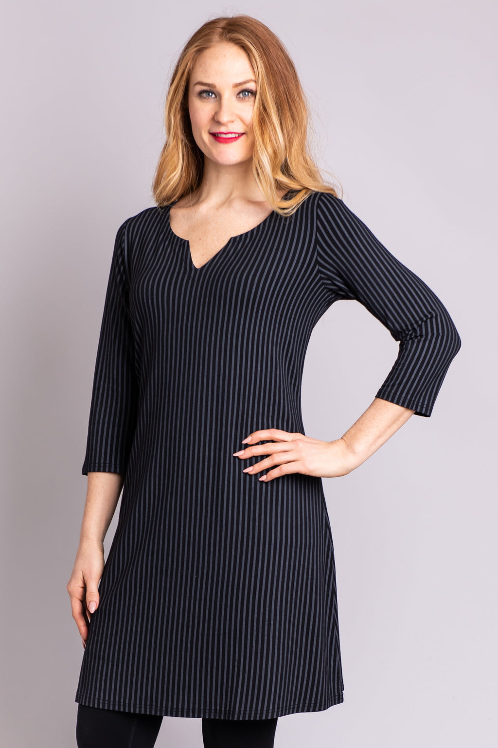 Maggie 3/4 Dress, Black Grey Stripe