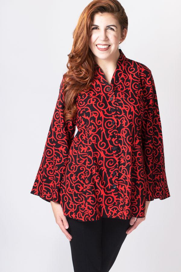 Mar Blouse, Black/Red Swirls - Blue Sky Clothing Co